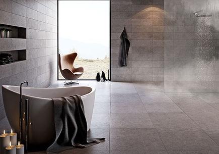 Płytki gresowe do łazienki – beton na topie