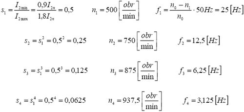 Rezystancje dodatkowe rozrusznika oporowego, przykład
