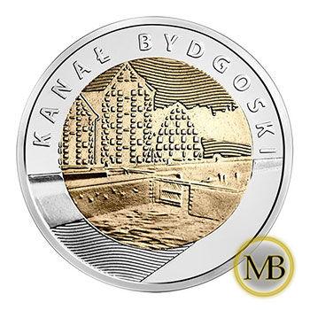 Monety z serii Odkryj Polskę 5 złotych Kanał Bydgoski.